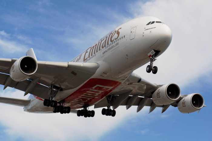 """""""Emirates A380"""" by BriYYZ is licensed under CC BY-SA 2.0"""