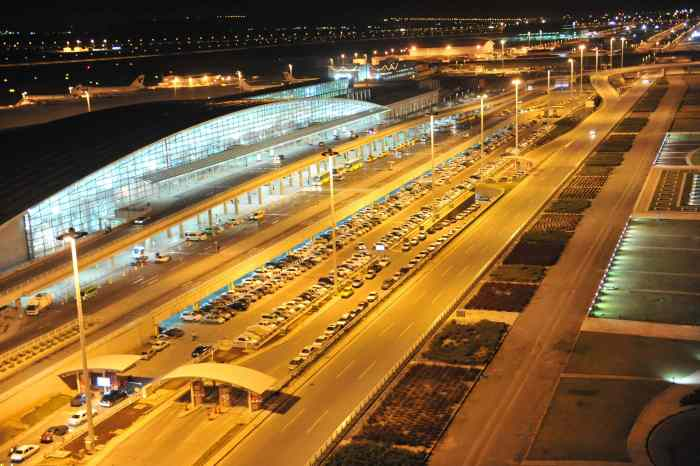 """""""Photograph of Tehran Imam Khomeini International Airport at night."""" by Princeofpersia1 is licensed under CC BY-SA 3.0.jpg"""